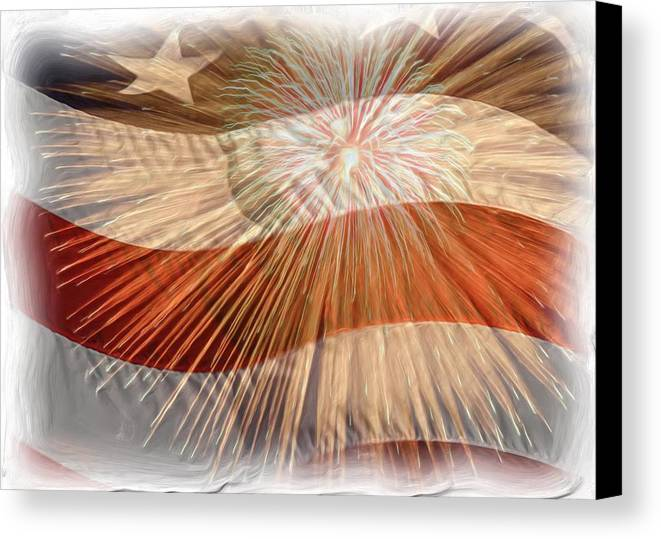 4th Canvas Print featuring the photograph Bombs Bursting In Air by Heidi Smith