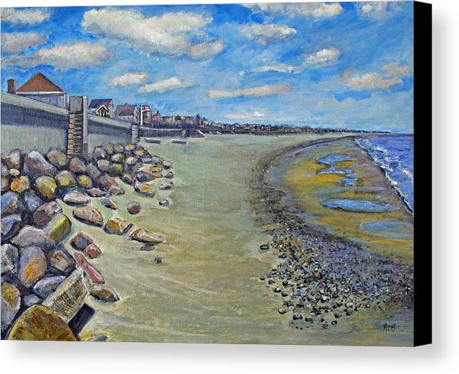 Ocean Bluff Canvas Print featuring the painting Brant Rock Beach by Rita Brown