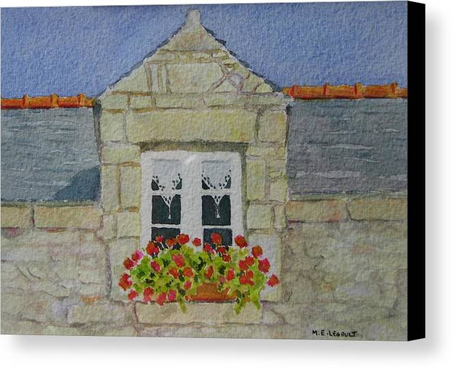 France Canvas Print featuring the painting Bretagne Window by Mary Ellen Mueller Legault