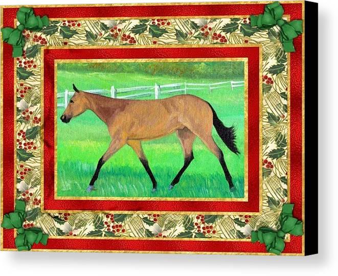 Buckskin Quarter Horse Christmas Card Canvas Print featuring the painting Buckskin Quarter Horse Christmas Card by Olde Time Mercantile