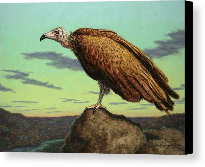 Buzzard Canvas Print featuring the painting Buzzard Rock by James W Johnson