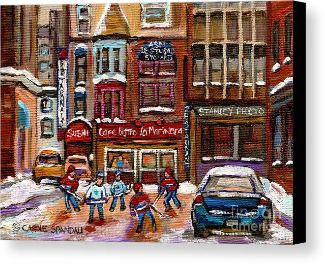 Restaurants Canvas Print featuring the painting Cafe Bistro La Marinara by Carole Spandau