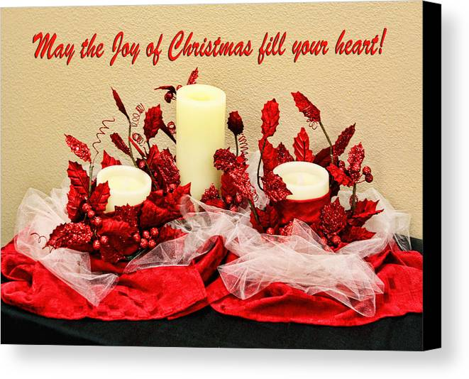 Christmas Canvas Print featuring the photograph Christmas Candels by Linda Phelps