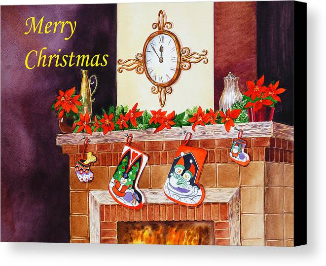 Christmas Canvas Print featuring the painting Christmas Card by Irina Sztukowski