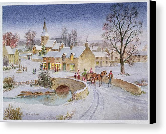 Rural; Snow; Winter; Horse And Cart; Tree; Evening; Bridge; Cross; Christmas Canvas Print featuring the painting Christmas Eve In The Village by Stanley Cooke