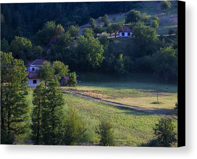 Nature Canvas Print featuring the photograph Cottages In The Mountain by Radoslav Nedelchev