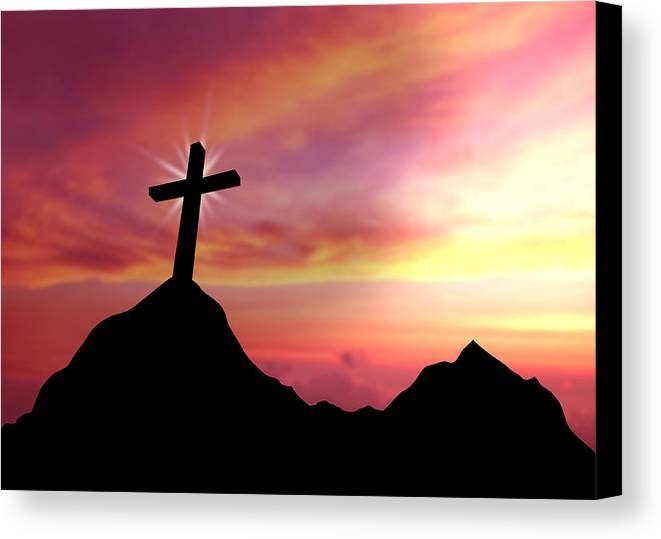 Crucifix Canvas Print featuring the drawing Cross by Aged Pixel