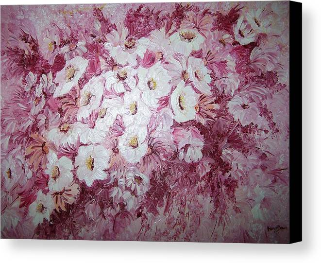 Canvas Print featuring the painting Daisy Blush by Karin Dawn Kelshall- Best