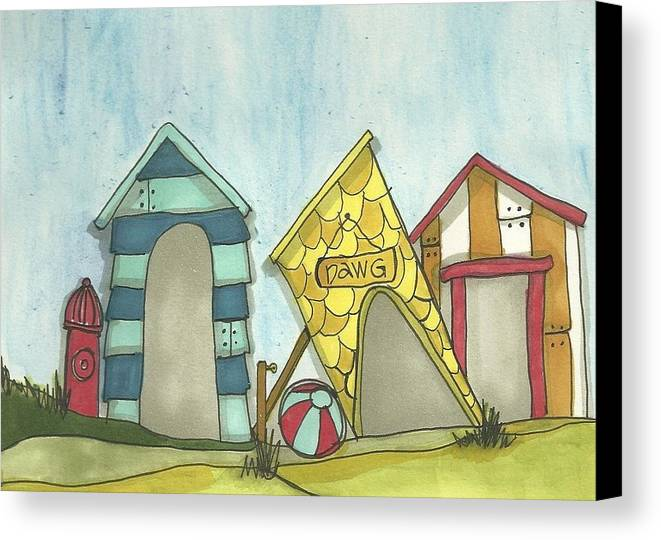 Dog Canvas Print featuring the painting Dawg House by Ann Krier