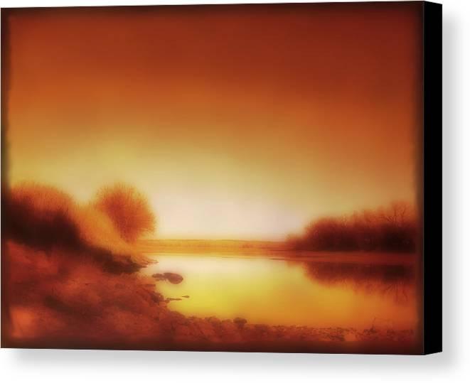 Landscape Canvas Print featuring the photograph Dawn Arkansas River by Ann Powell