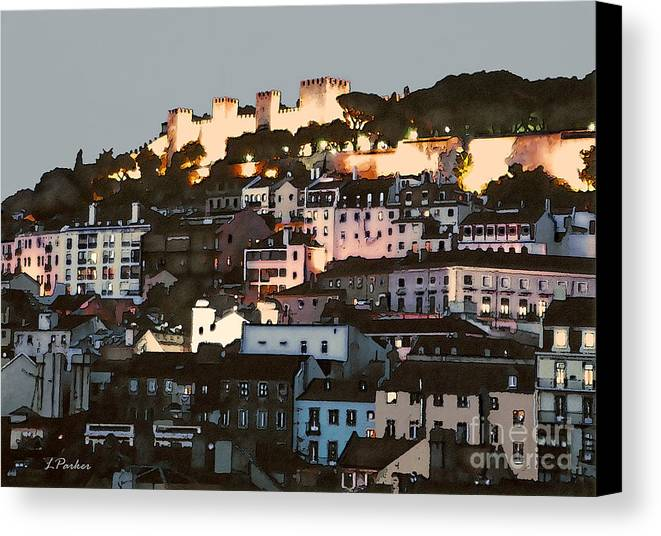 Abstract Canvas Print featuring the photograph Dawn At St. George Castle Lisbon by Linda Parker
