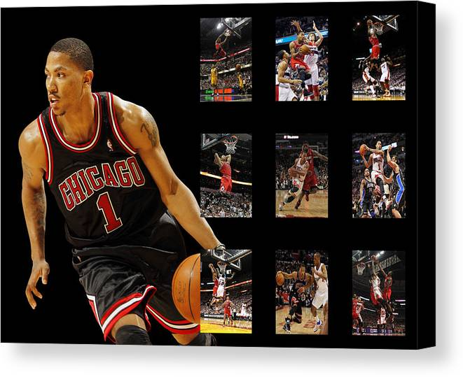 Derrick Rose Canvas Print featuring the photograph Derrick Rose by Joe Hamilton