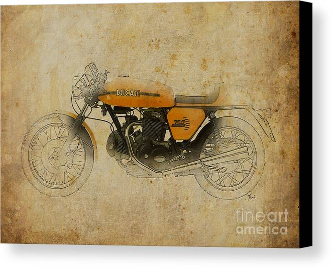 Ducati Canvas Print featuring the digital art Ducati 750 Sport 1973 by Pablo Franchi