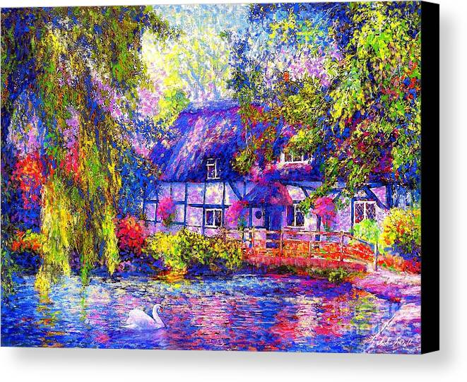Cottage Canvas Print featuring the painting English Cottage by Jane Small