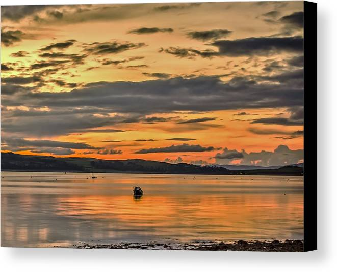 Fairlie Canvas Print featuring the photograph Fiery Skies Over Cumbrae by Tylie Duff