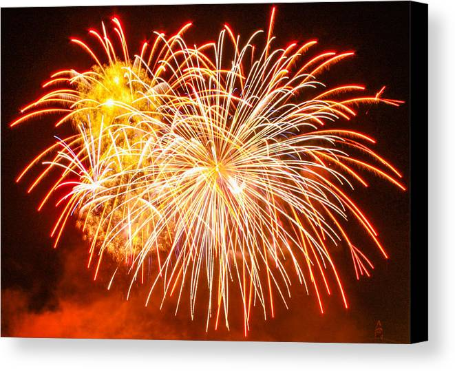 4th Of July Fireworks Canvas Print featuring the photograph Fireworks Flower by Robert Hebert