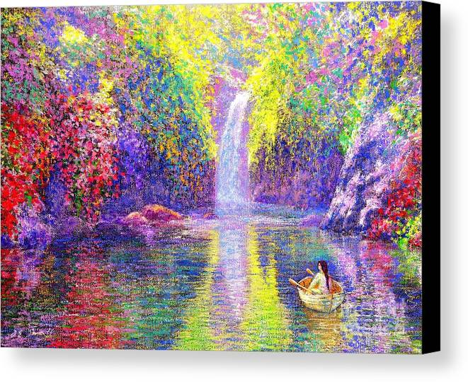 Waterfall Canvas Print featuring the painting Floating by Jane Small