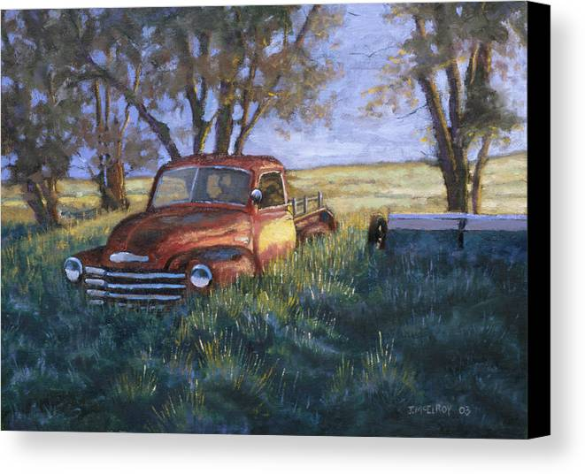 Pickup Truck Canvas Print featuring the painting Forgotten But Still Good by Jerry McElroy
