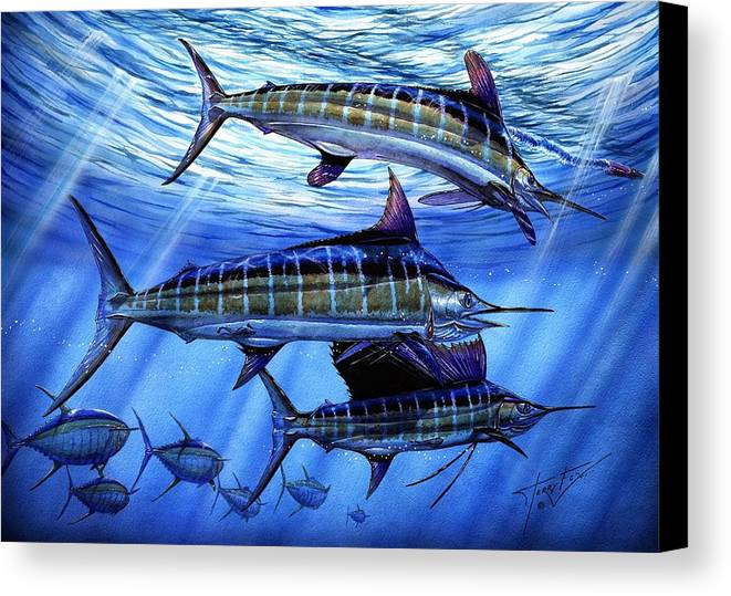 Blue Mrlin Canvas Print featuring the painting Grand Slam Lure And Tuna by Terry Fox