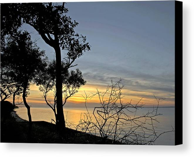 Great South Bay Canvas Print featuring the photograph Great South Bay Sunset by Alida Thorpe