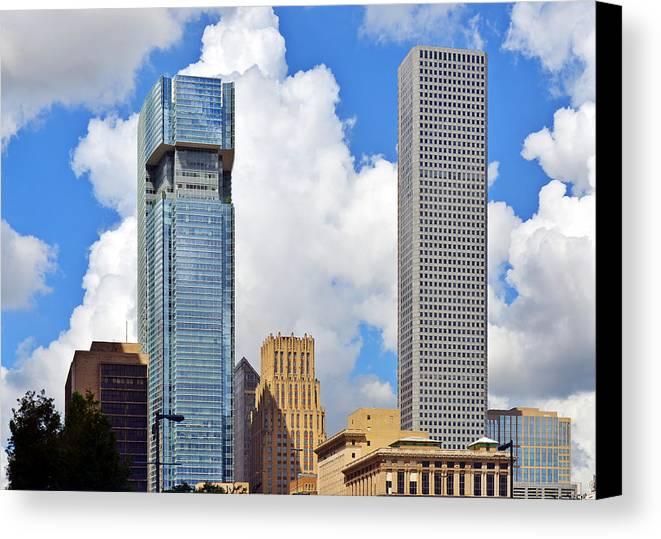 Jpmorgan Canvas Print featuring the photograph Gulf Building Houston Texas by Christine Till