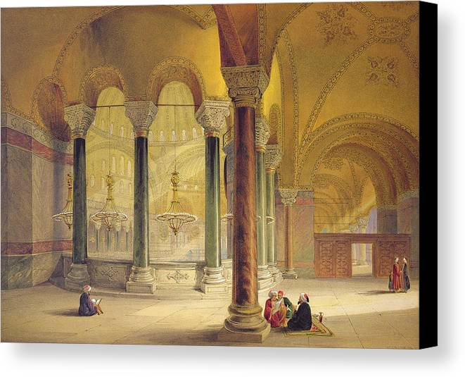 Architecture Canvas Print featuring the drawing Haghia Sophia, Plate 11 The Meme by Gaspard Fossati