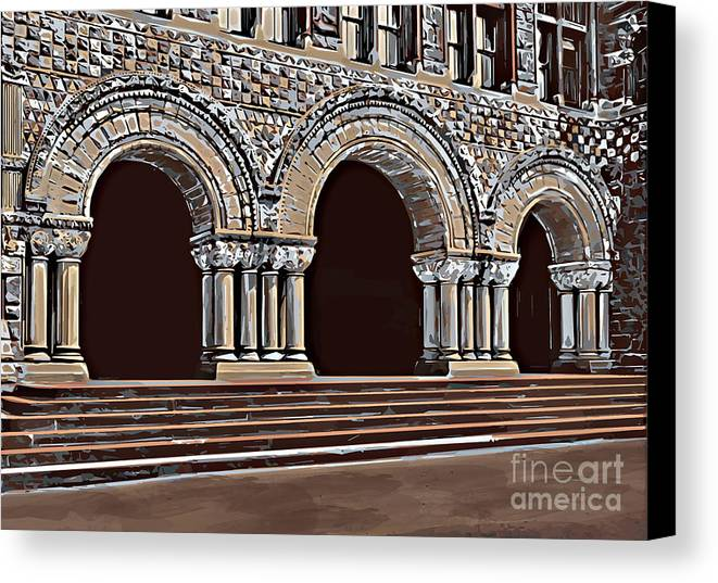 Studying Canvas Print featuring the painting Harvard Entrance To Law School  C1900 by Andrzej Szczerski