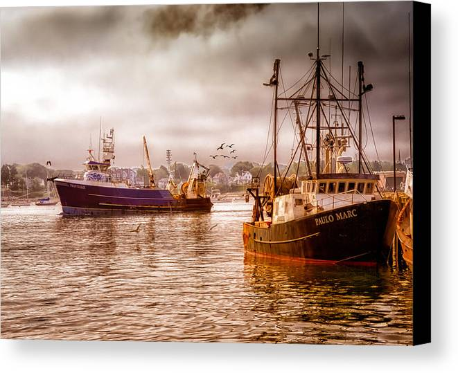 Seascape.dreamscape Canvas Print featuring the photograph Heading Out by Bob Orsillo