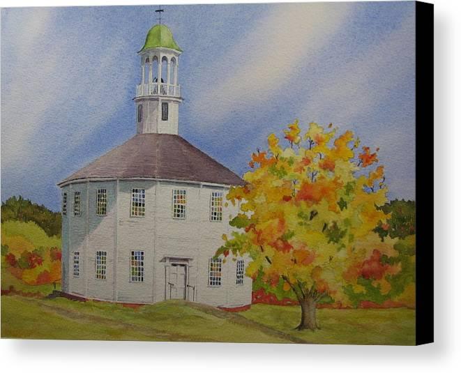 Richmond Canvas Print featuring the painting Historic Richmond Round Church by Mary Ellen Mueller Legault