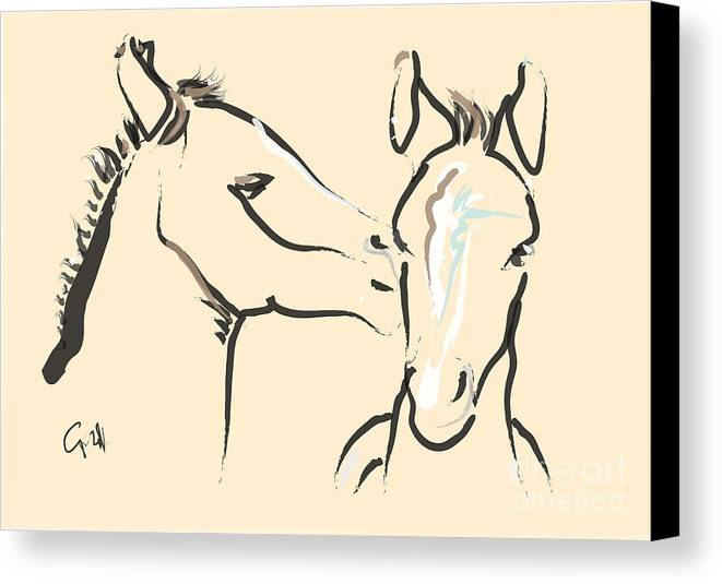 Foal Canvas Print featuring the painting Horse-foals-together 6 by Go Van Kampen