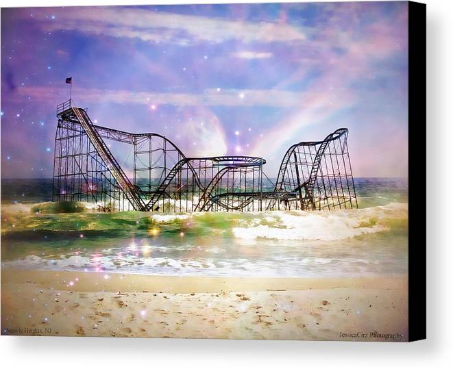 Hurricane Sandy Canvas Print featuring the photograph Hurricane Sandy Jetstar Roller Coaster Fantasy by Jessica Cirz