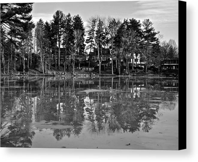 Icy Canvas Print featuring the photograph Icy Pond Reflects by Frozen in Time Fine Art Photography
