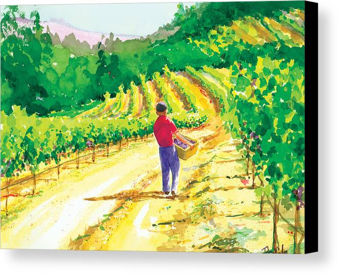 Vineyard Canvas Print featuring the painting In The Vineyard by Ray Cole