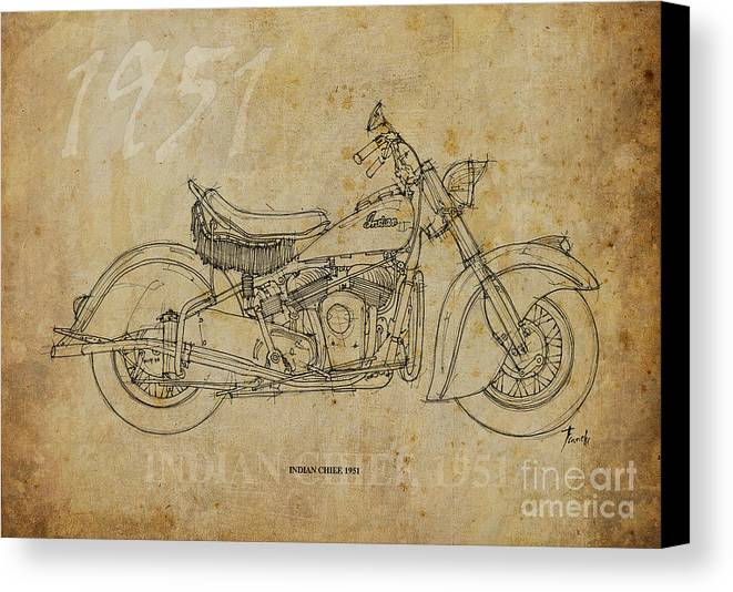 Indian Canvas Print featuring the drawing Indian Chief 1951 by Pablo Franchi