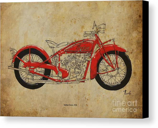 Indisn Canvas Print featuring the painting Indian Scout 1928 by Pablo Franchi