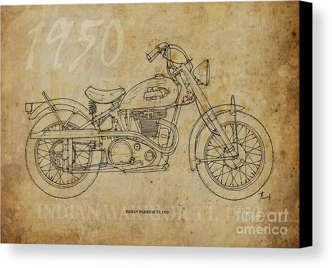 Indian Canvas Print featuring the drawing Indian Warrior Tt 1950 by Pablo Franchi