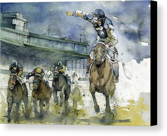 Horse Canvas Print featuring the painting Keeneland by Michael Pattison