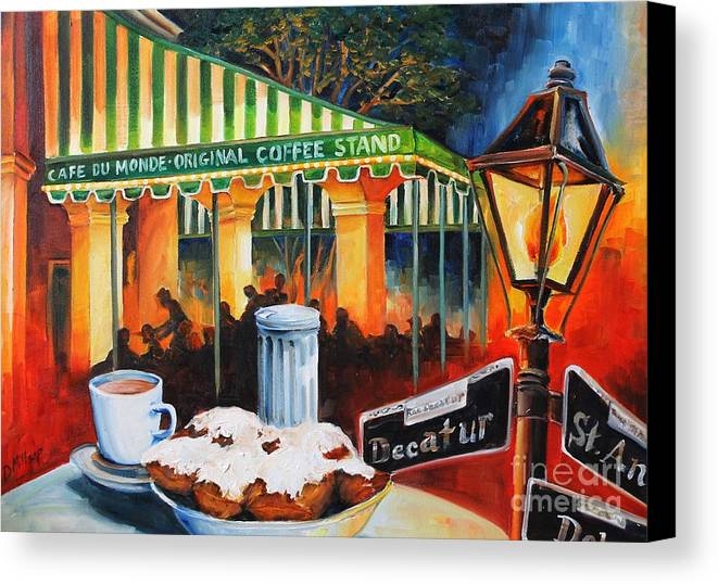 New Orleans Canvas Print featuring the painting Late At Cafe Du Monde by Diane Millsap