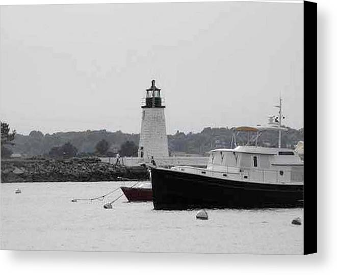 Black And White Photography Canvas Print featuring the photograph Lighthouse Calming Effect by Catherine Ratliff