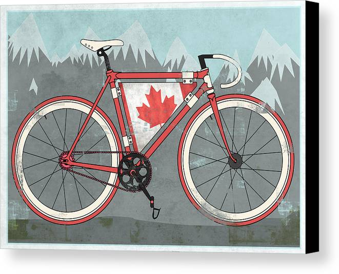 Canada Canvas Print featuring the digital art Love Canada Bike by Andy Scullion