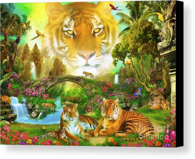 Aimee Stewart Canvas Print featuring the digital art Majestic Tiger Grotto by Aimee Stewart