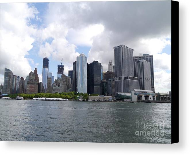 Manhattan Canvas Print featuring the photograph Manhattan Skyline From The Hudson River by Christiane Schulze Art And Photography
