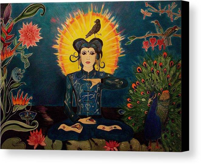 Visionary Canvas Print featuring the painting Many Feathers by Michelle Grove