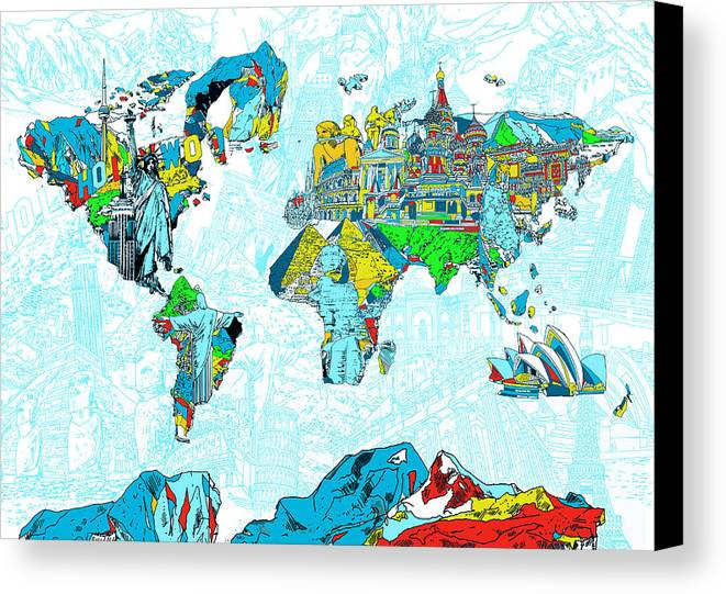 Map Of The World Landmark Collage 2 Canvas Print / Canvas Art by ...