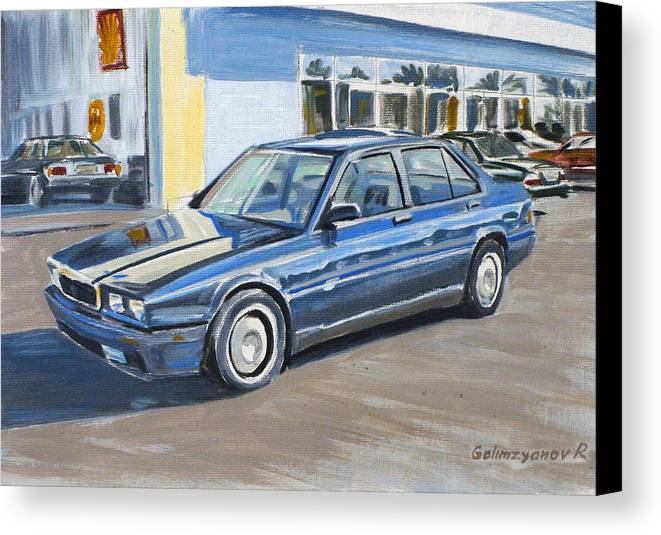 Auto Canvas Print featuring the painting Maserati Biturbo by Ildus Galimzyanov