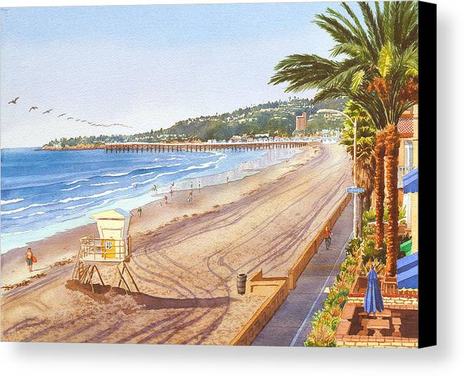Mission Beach Canvas Print featuring the painting Mission Beach San Diego by Mary Helmreich