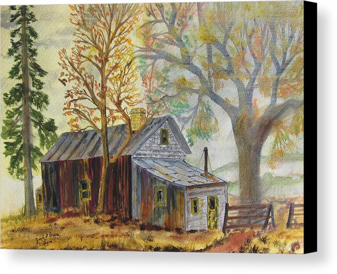 Rural Fog Mist Landscape Old Cabin Fall Foilage Canvas Print featuring the painting Misty Morning On Hermit Hill by Jack G Brauer