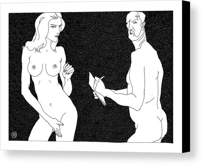 Art Canvas Print featuring the digital art Model And Artist 19 by Leonid Petrushin