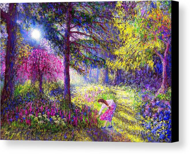 Woodland Canvas Print featuring the painting Morning Dew by Jane Small