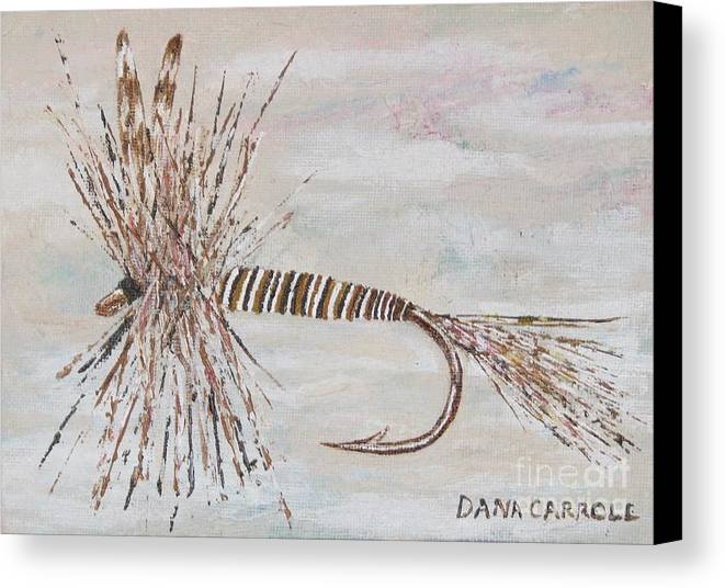Fishing Canvas Print featuring the painting Mosquito Dry Fly by Dana Carroll